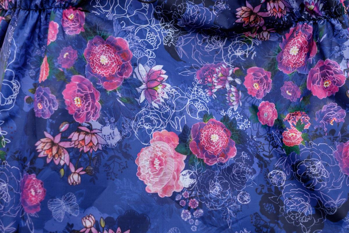 Ratu lietus plēve: Gleznotie ziedi