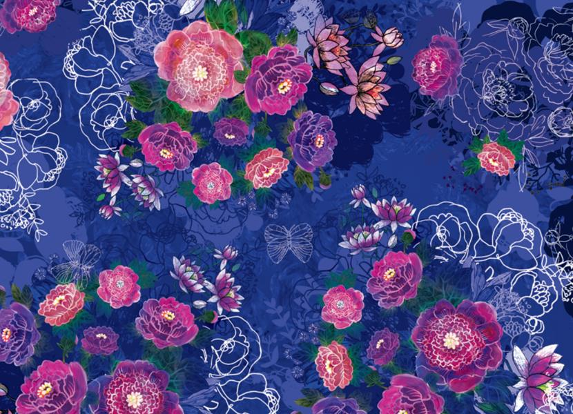Garroku lacīte: Gleznotie ziedi